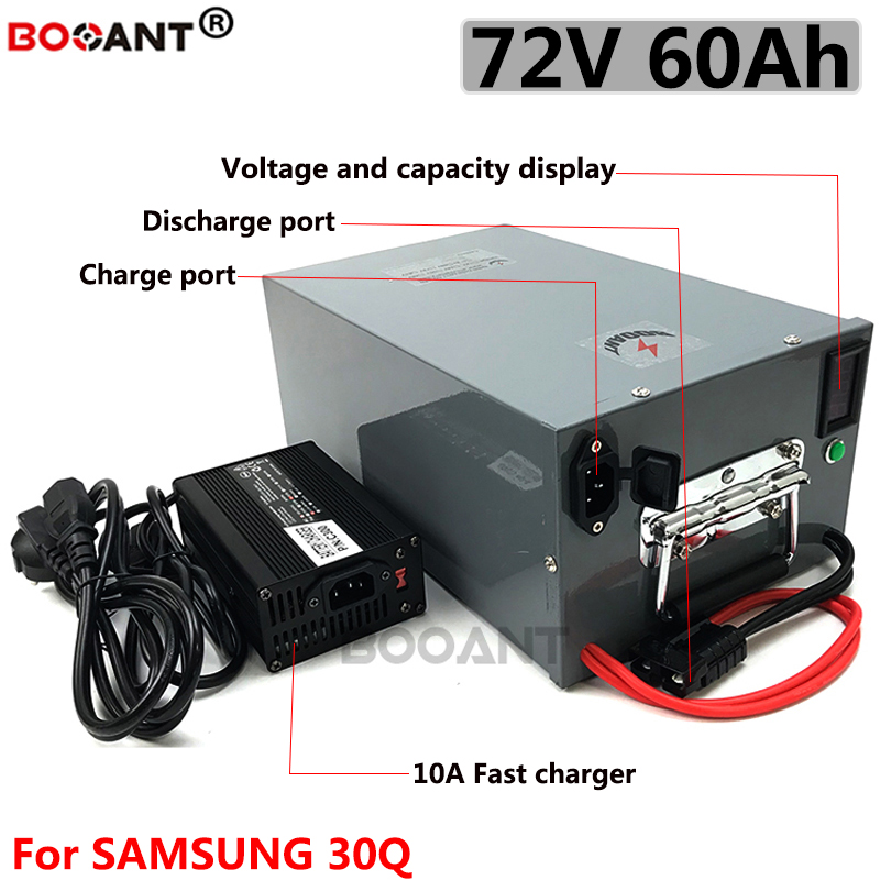 20S 20P <font><b>72V</b></font> <font><b>60Ah</b></font> 5KW rechargeable lithium <font><b>battery</b></font> for 5C 18650 Samsung 30Q cell <font><b>72V</b></font> 3000W electric bike <font><b>battery</b></font> with 10A Charger image