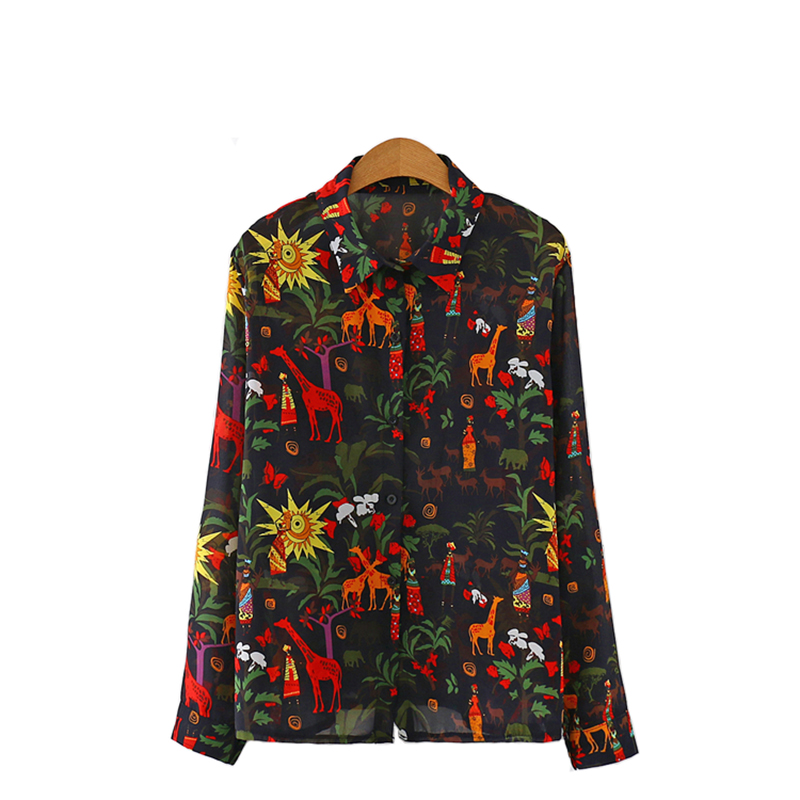 Spring &Summer young lady  leisure long sleeve Imitation of mulberry silk Graffiti printing blouse