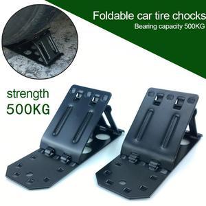 2 pçs roda de carro chock dobrável roda rampa triângulo anti-skid parar metal antiderrapante veículo carro caminhão roda pneu bloqueio de parada