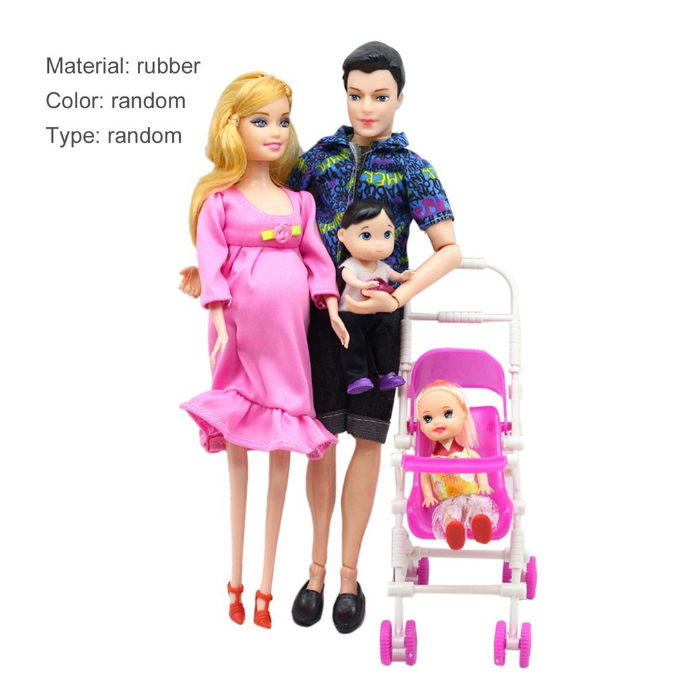 OCDAY Toys Family 5 People Dolls Suits Mom Dad 1 Little Kelly Girl And Baby Son Baby Carriage Real Pregnant Doll Gifts New Hot