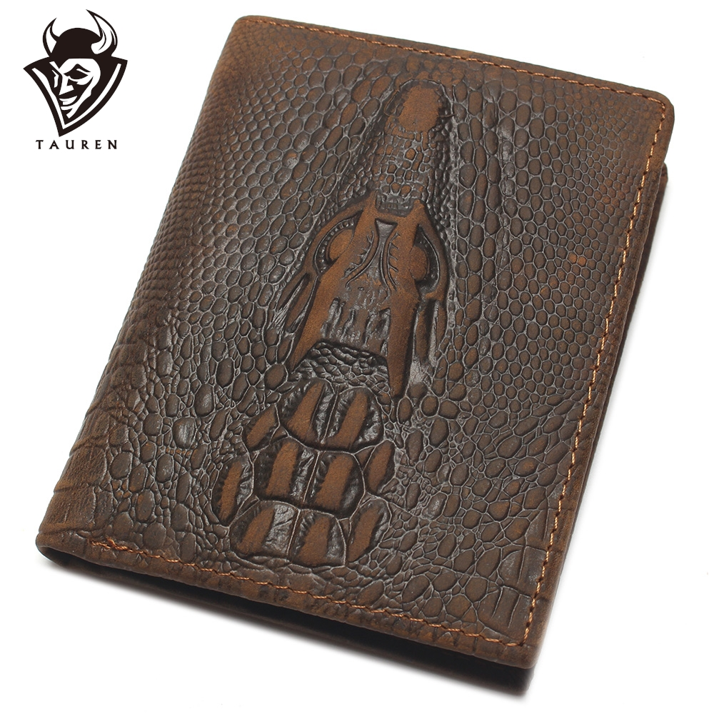 Top Grain Genuine Leather Material Fashion Brown Crocodile Head Men Wallet Crazy Horse Wallet For Men
