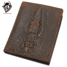 Top Grain Genuine Leather Material Fashion Brown Crocodile Head Men Wallet Crazy Horse For