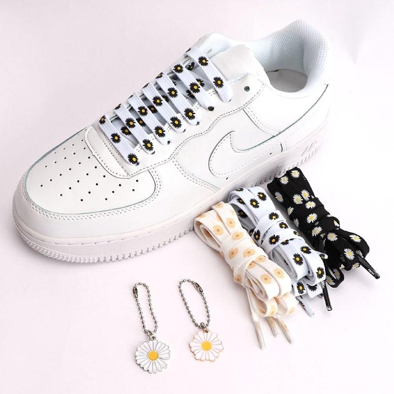 1Pair Little Daisies Shoelaces Cartoon Printing Fashion Women Men Shoes Laces High-top Canvas Sneakers Shoelace Flats Shoelaces