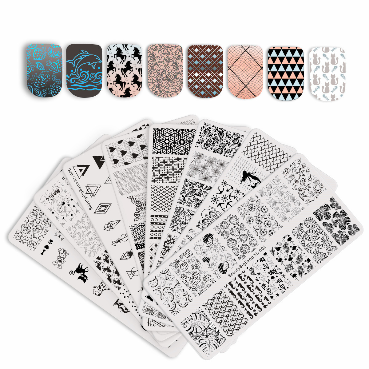 BeautyBigBang Stamping Plate For Nails Stamping Plate Vintage Sea Mermaid Geometry Nail Art Accessories Mold Polish Template