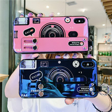 Cartoon camera luxury wrist strap girls case phone for iphone 6s 6 8 7 plus xs xr xsmax pink blue blu-ray laser wristband cover