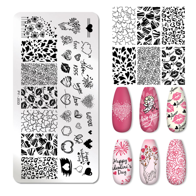 PICT You Valentine's Day Stamping Plates Love Rose Flower Image Plate Stainless Steel Nail Design Stamp Plate DIY Stencil