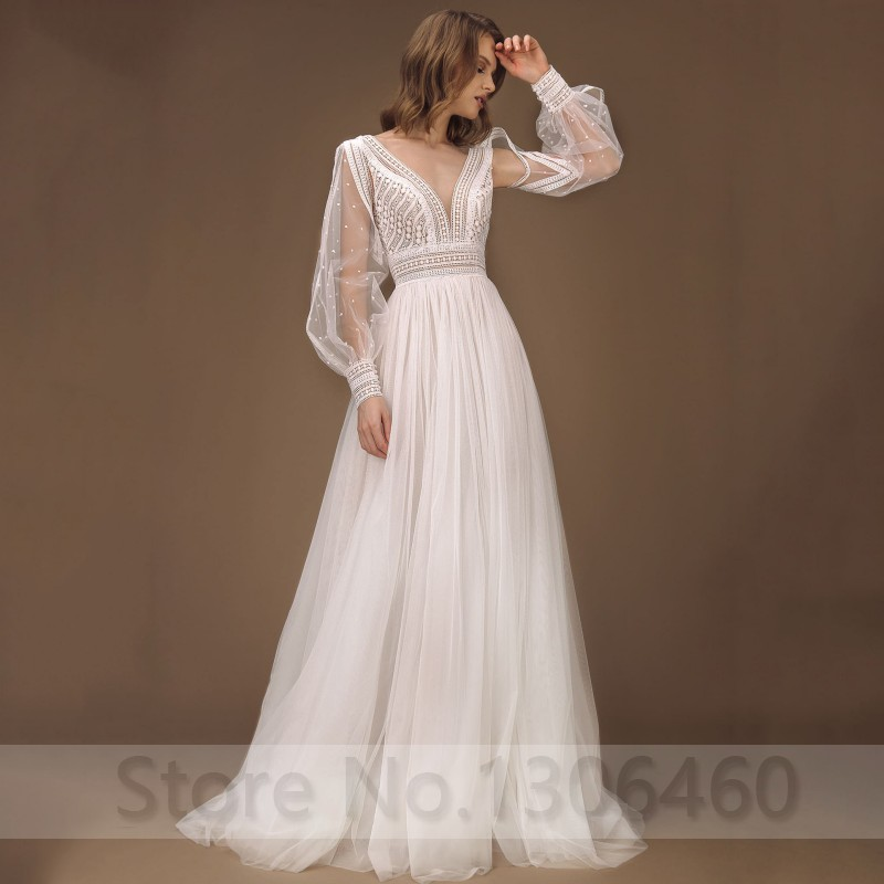 Elegant A-Line Wedding Dress Puff Sleeves Tulle Boho Wedding Gowns Sexy Backless Vestido De Novia Princess Wedding Party Dress