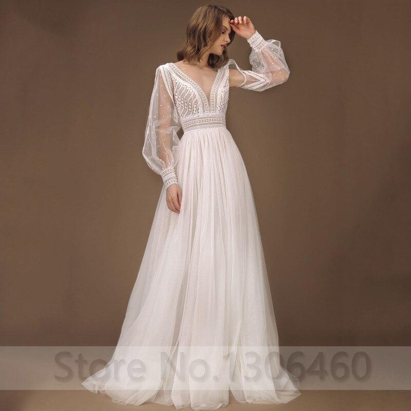 Elegant A-Line Wedding Dress Puff Sleeves Tulle Boho Wedding Gowns Sexy Backless Vestido De Novia Princess Wedding Party Dress