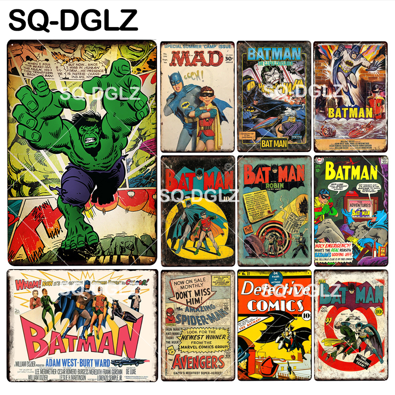 [SQ-DGLZ] nouveau Super héros étain signe métal signe décoration murale en métal artisanat peinture Plaques Art affiche