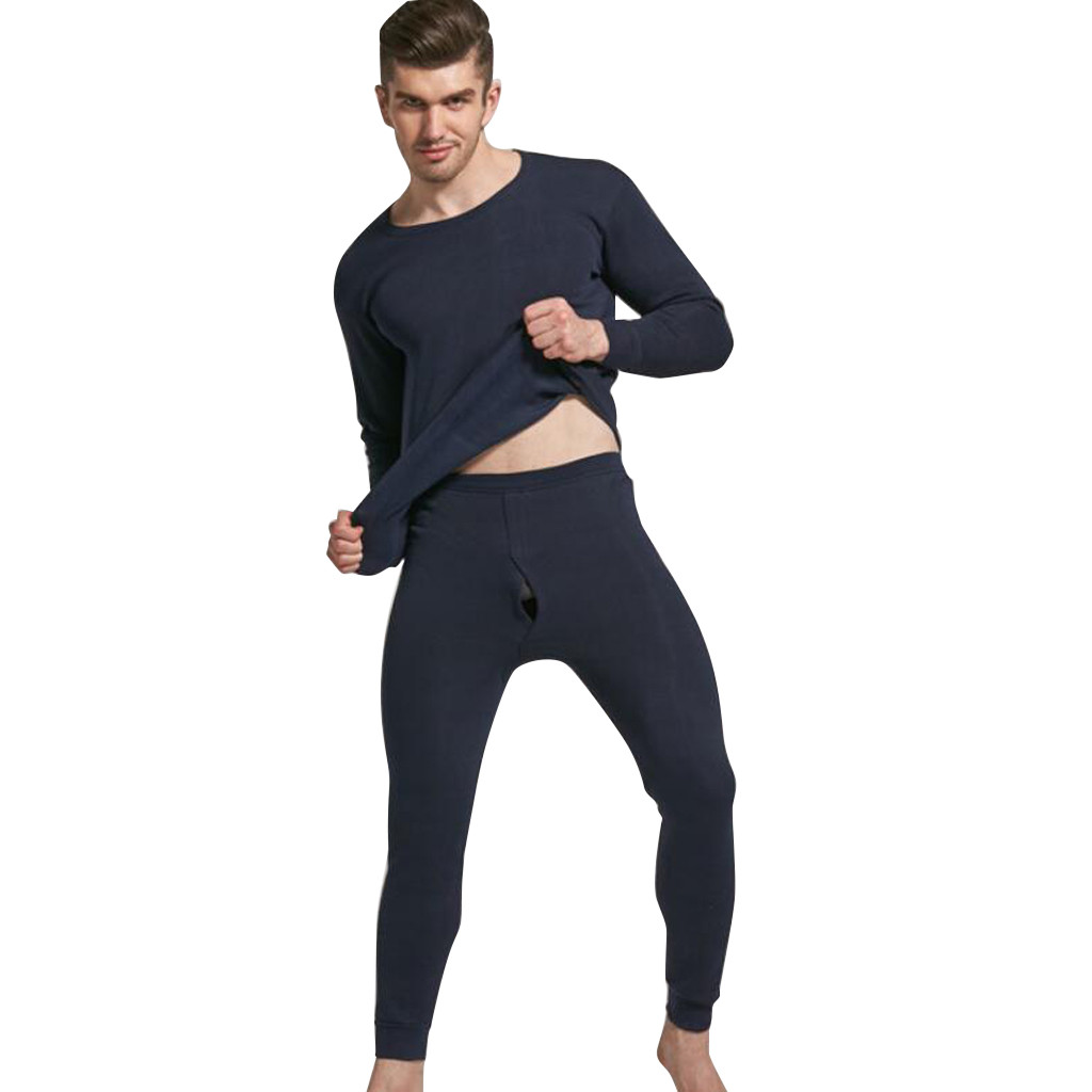 2pcs Men's Long Underwear Winter O-Neck Thermal Suit Keep Warm Sleepwear Tops+Pants Underwear Set  #3