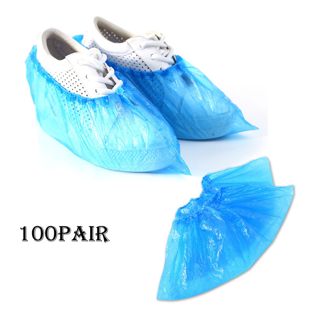 Pack of 100 Shoe Covers Disposable Shoe Covers Overshoes Blue Plastic Waterproof Anti Slip Dust-proof for Home Workplace