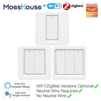 WiFi ZigBee Smart Push Button Switch No Neutral Required Life Tuya APP Alexa Google Home Voice Control 2/3 Way EU UK - discount item  40% OFF Electrical Equipment & Supplies