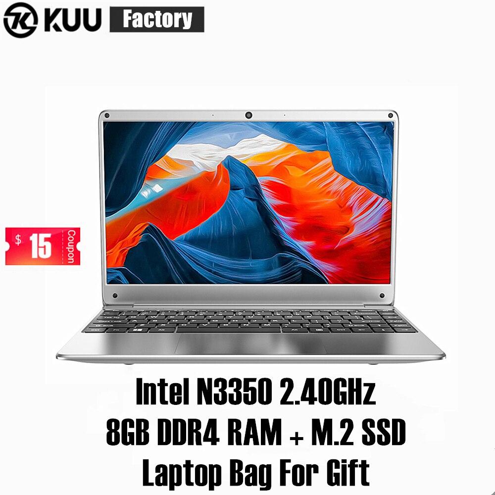 KUU KBooK 14.1 Inch Intel N3350 8GB DDR4 RAM 256GB SSD Notebook IPS Laptop Win10 Full Layout Keyboard Additional Sata 2.5 Port