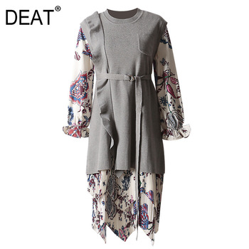 DEAT Leisure O Neck Pullover Mid Calf Dresses Loose Floral Dress Gray Knitted Sweater Two Piece Set 2020 spring Winter New TD533