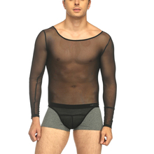 цена на Sexy Male Mens Lingerie Set See Through Mesh Lace Bodysuit Top Shirt Catsuit Underwear Underpants Rompers