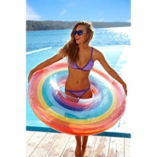 Large Transparent Rainbow Swimming Ring Inflatable Circle Life Buoy Child Adult Summer Party Pool Float Games Toys Decoration