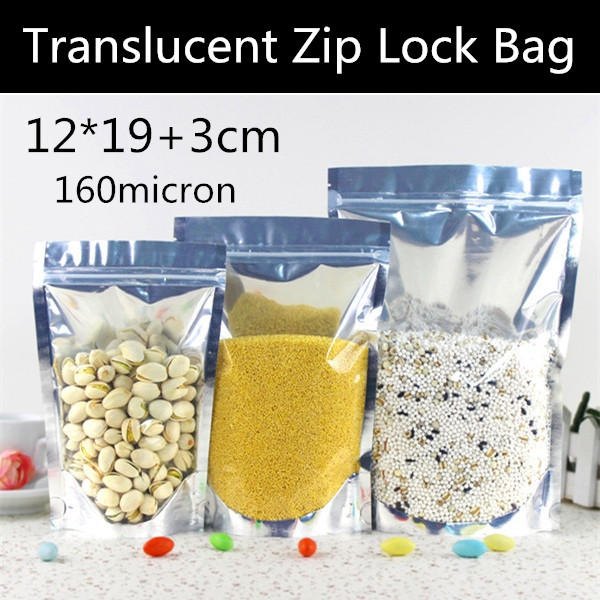 Free Shipping <font><b>12x20</b></font>+3cm 160micron One side Clear Bag Stand Up Aluminizing Foil Bag Candy/Cereals/Nuts Zipper Pouch image