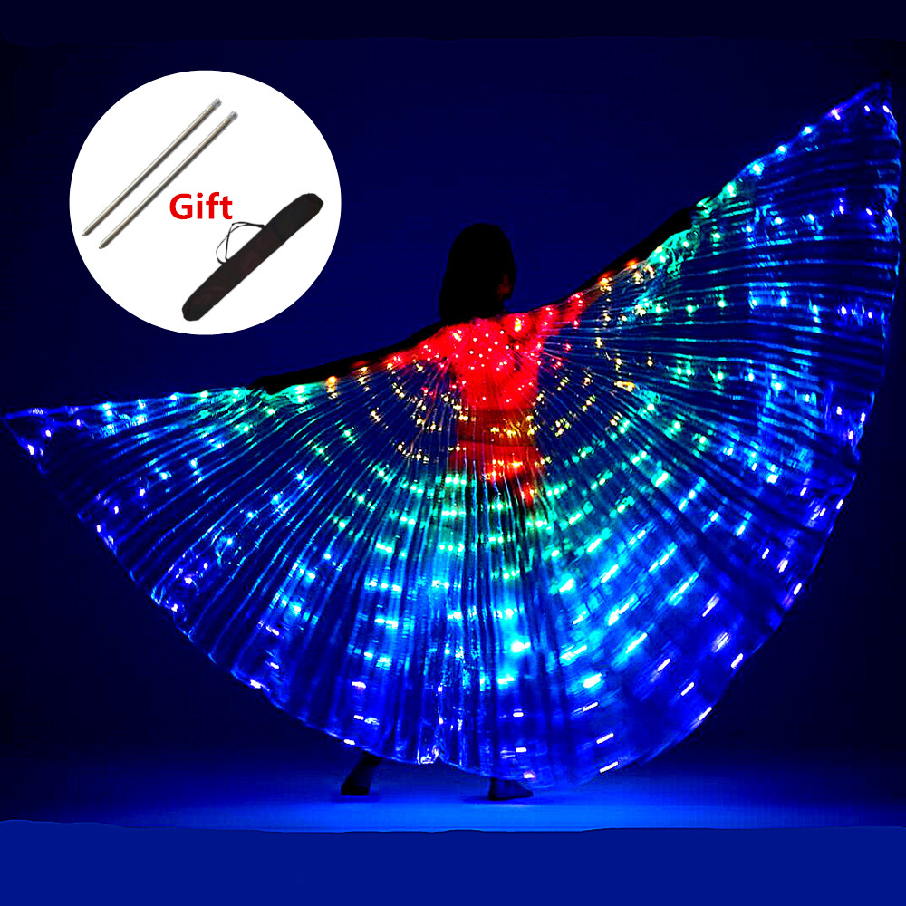 LED <font><b>Wings</b></font> Belly Dance <font><b>Isis</b></font> <font><b>Wings</b></font> <font><b>Women</b></font> Children Belly Dancing Costume Fluorescent Butterfly <font><b>Wings</b></font> Led Costumes Lamp Props Stage image