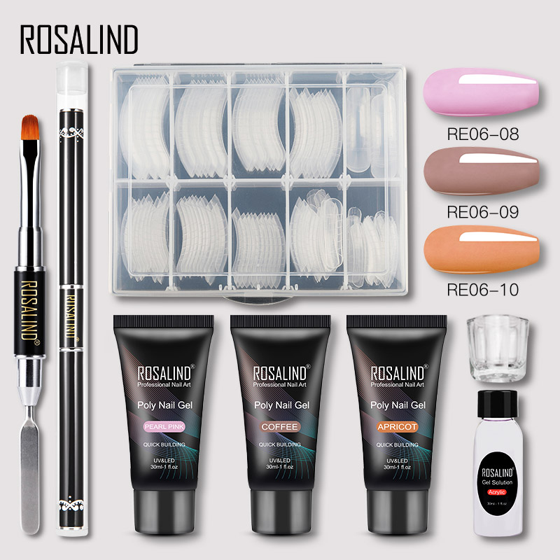ROSALIND Poly Nail Gel Extension Nail Kit All For Manicure Gel Set Acrylic Solution Water Builder Gel Polish For Nail Art Design 25