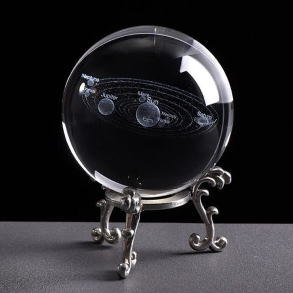 6cm Sphere Engraved Solar System Craft Planets Model Gift Clear With Base Miniature 3D Home Decoration Photo Props Crystal Ball