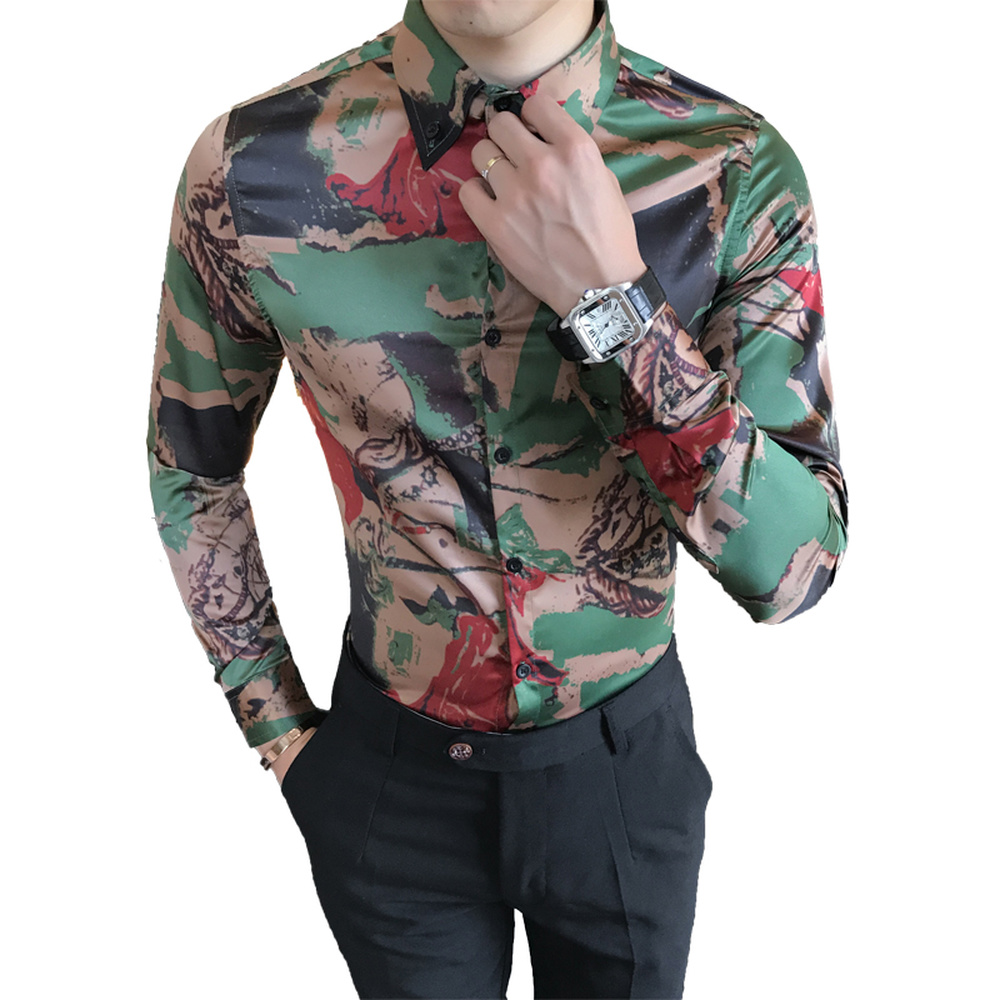 2018 Luxury Mens Slim Fit Shirts Male Clothing Floral Print Tops High Quality Long Sleeve Shirts Social Fashion Business Shirt