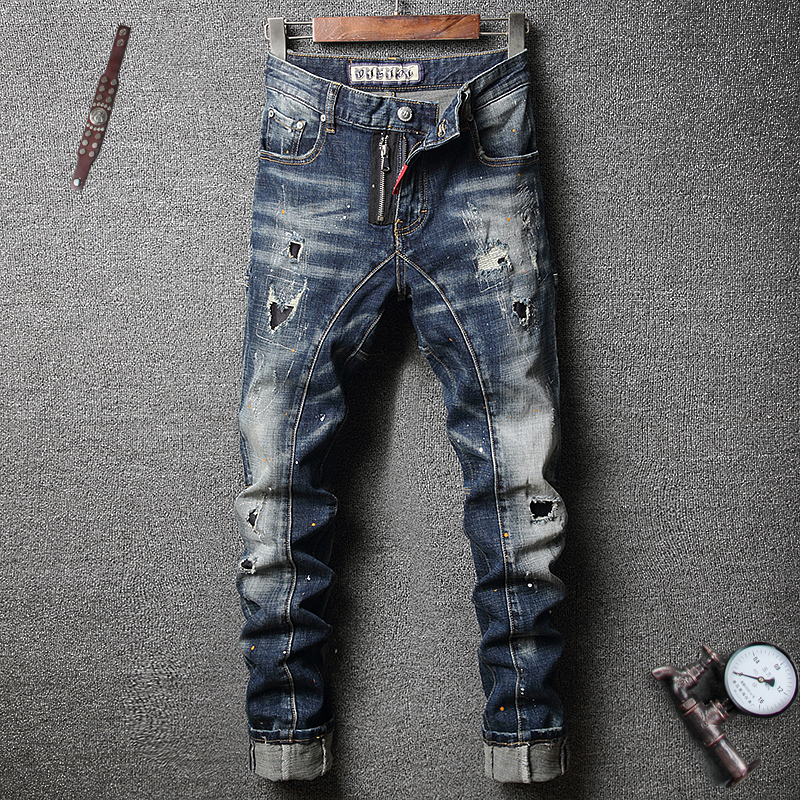 Italian Style Fashion Men Jeans Retro Blue Slim Fit Ripped Jeans Men Elastic Denim Punk Pants High Quality Hip Hop Jeans Homme