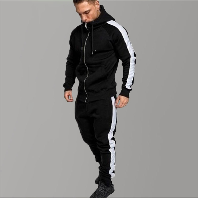 Trendy Striped Brand Tracksuit Men Hoodies Fleece Black Sportwear Casual Winter Warm Hooded Tracksuit Men Sweat Hip Hop Jogger