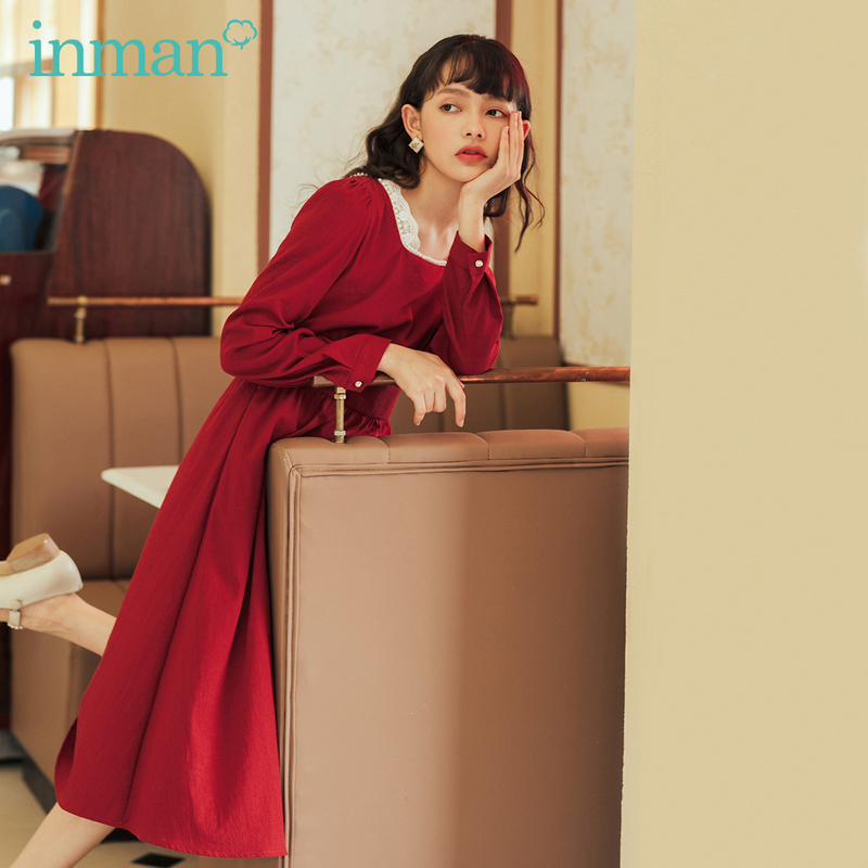 INMAN 2020 Autumn Winter New Arrival French Style Lace Square Collar Long Sleeve with Bead Dress