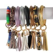 PU Leather Circle Bracelet KeyChain Custom Cute Same Color Tassel Wristlet Keychain Wholesale Women Girls Keyring