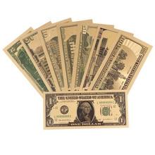 8 шт 24K позолоченные доллары памятные Примечания поддельные деньги Золото антикварная коллекция 1 2 5 10 20 50 100 доллар
