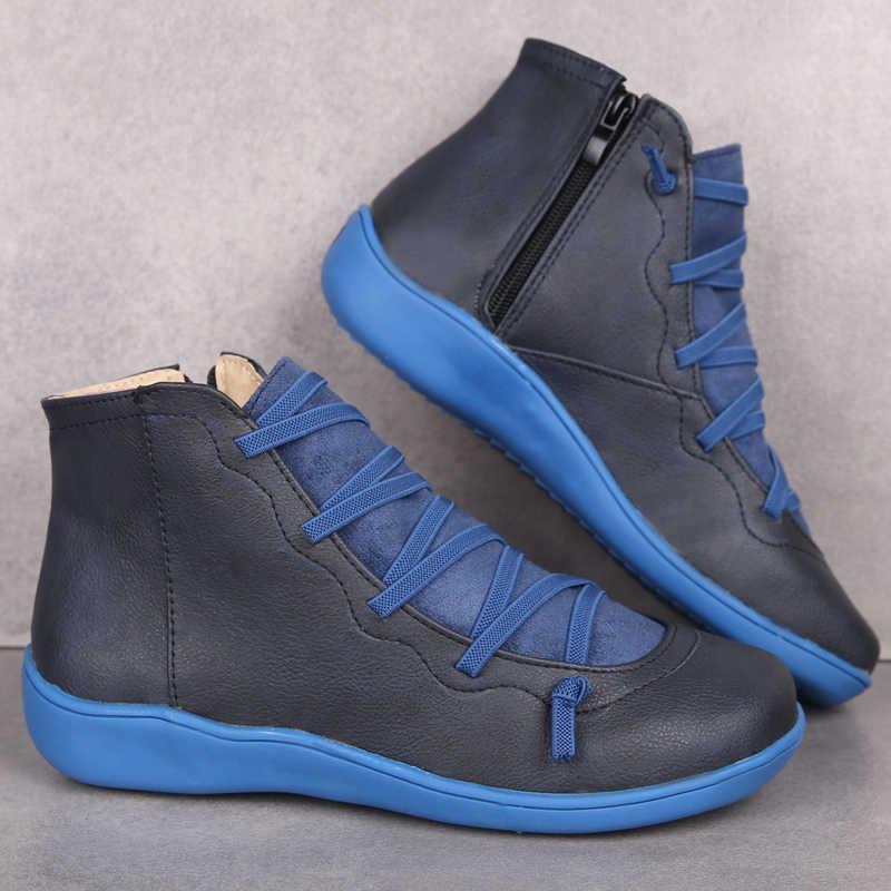Sıcak kadın PU deri yarım çizmeler kadın sonbahar kış çapraz Strappy Vintage kadınlar serseri çizmeler düz bayan ayakkabıları kadın Botas Mujer