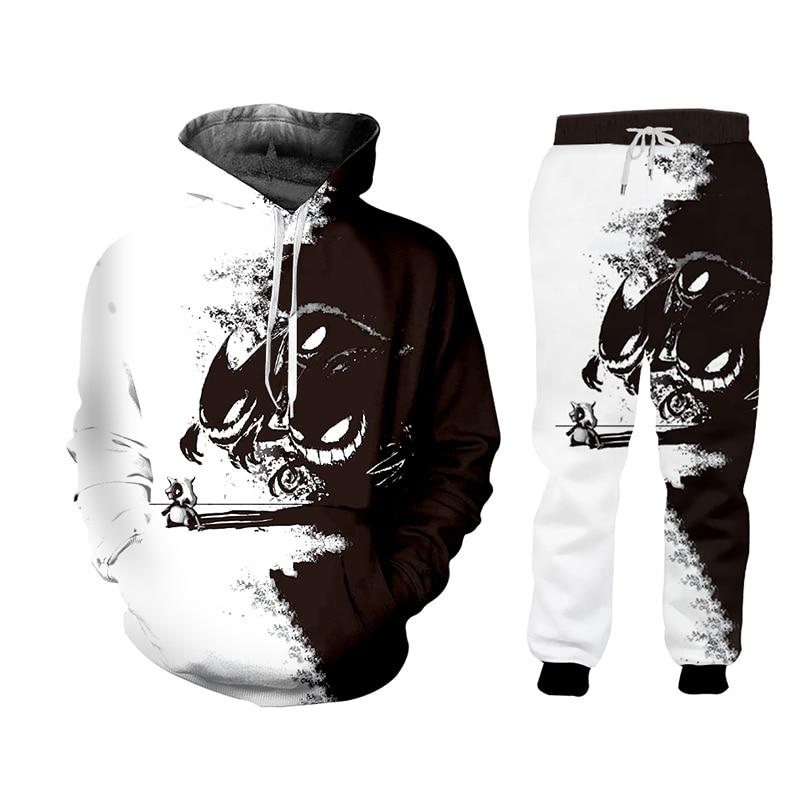 UJWI 3D White Black Zip Hoodies Suits Men/woman Sweatshirt Tracksuit Harajuku 2 Piece Set Fall Winter Unisex Pant Jacket