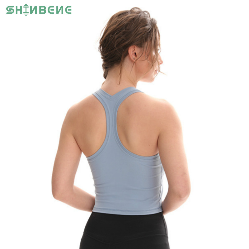 SHINBENE Flexible Racerback Sport Fitness Crop Tops Women Soft Nylon Running Yoga Gym Vest Plain Jogger Workout Tanks Tops
