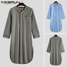 INCERUN Men Sleep Robes 2021 Long Sleeve V Neck Button Homewear Leisure Cozy Bathrobe High Quality Mens Nightgown Pajamas Dress