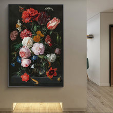 Classical Flowers in a Glass Vase Canvas Paintings On the Wall Posters And Prints Classical Flowers Pictures Wall Decoration