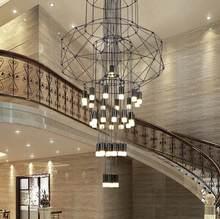 Nowoczesne, minimalistyczne lampy hotelowe lobby nordycki kreatywny schody do kawy salão de beleza z kutego żelaza geometryczne linie vai