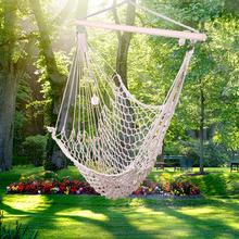 Single Hammock Hanging Rope Air Sky Chair Cotton Tree Chair Seat for Outdoor Backyard Camping Hunting Hiking Traveling Beige