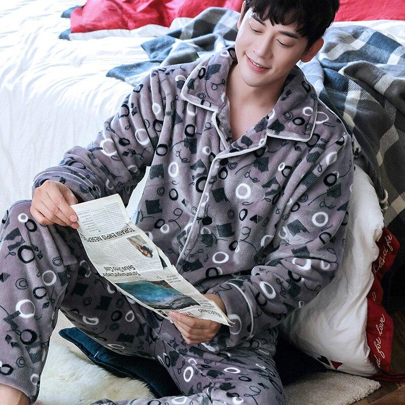 H5907 Printed Pajamas Men Winter Lapel Thick Warm Flannel Nightwear Suit Home Clothing Male Coral Fleece Long Sleeve Sleepwear