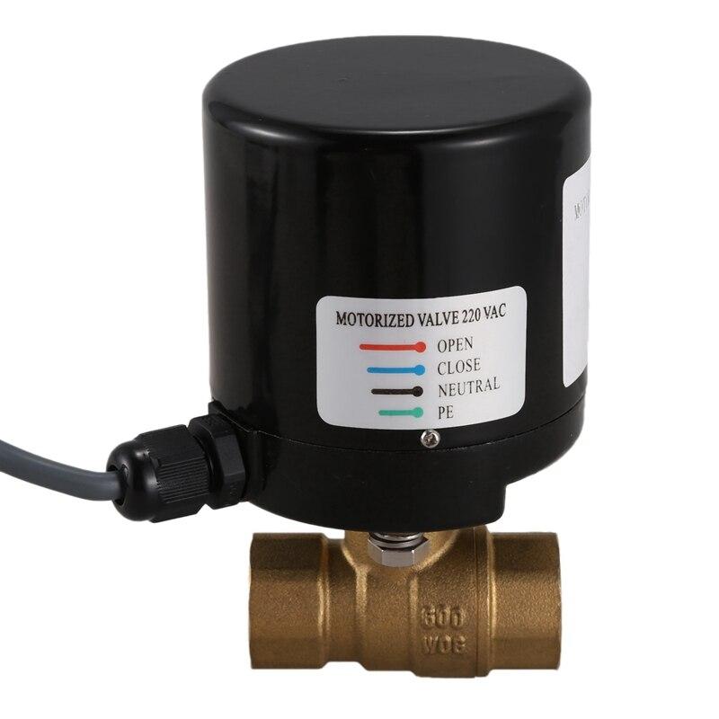 Vanne électrique en laiton à filetage interne chaud Type L double-voie DN15 actionneur électrique à boisseau sphérique AC220V