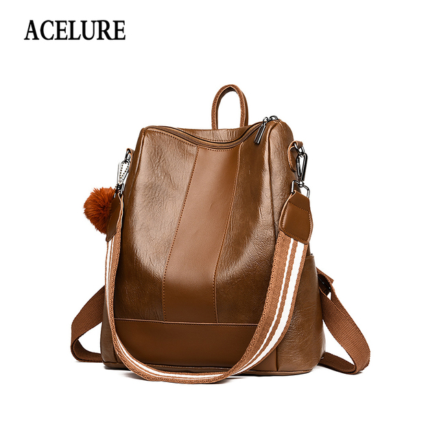 ACELURE Luxury Design Women Oil PU Leather Backpack Casual Backpack Bag Teenager School Travel Backpack Mochila Escolar Militar