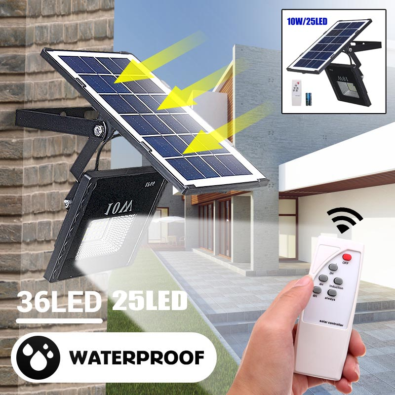 25/10W Solar Floodlight Led Portable Spotlight Floodlight Outdoor Street Garden Light Waterproof Wall Lamp With Remote Control