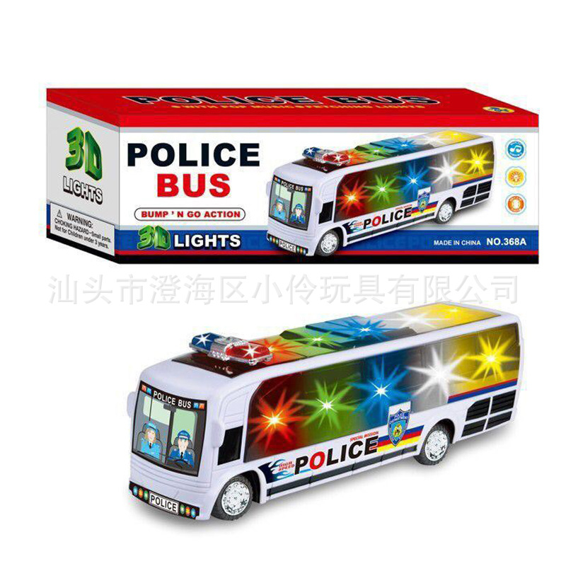 Children Electric Universal Bus 3D Colorful Light Single Layer Campus Bus City Train Boy Toy