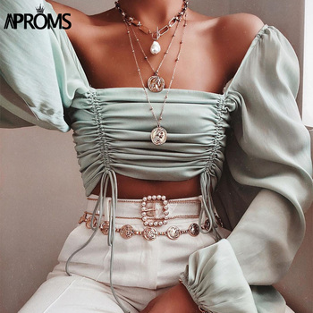 Aproms Vintage Square Neck Lantern Sleeve Blouse Shirt Women Ruched Pleated  Short Blouses Streetwear Elastic Crop Top 2020 lace applique lantern sleeve cold shoulder top