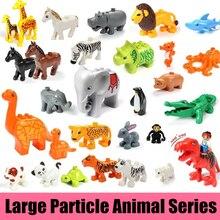 Купить с кэшбэком New Big Size Animal Large Particle Fit Legoings Duploed Figures Building Blocks Bricks Zoo Kid Toys DIY Bricks Gift Kid Birthday