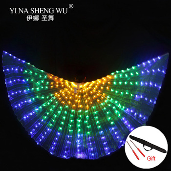 LED Belly Dance Isis Wings with Adjustable Stick Stage Performance Props Unisex Shining Rainbow LED Dance Wings 300pcs LED Beads