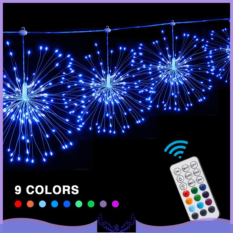 4pcs Hanging Starburst String Light Firework Copper Lights  Christmas Hanging Light String Xmas Decoration RGB 29Modes USB