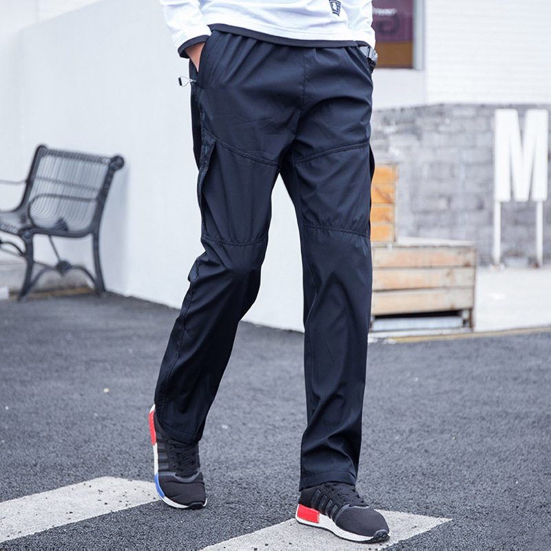 Spring Summer Cuffless Pants Men's Breathable Dacron Loose And Plus-sized Straight Gymnastic Pants Wearable Quick-Dry No Bombs A