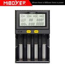 Miboxer C4 LCD חכם סוללה מטען עבור ליתיום IMR ICR LiFePO4 18650 14500 26650 21700 AAA סוללות 100 800mAh 1.5A