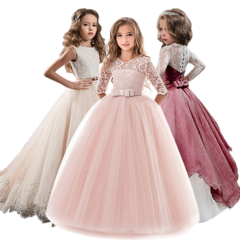 Children Girls Evening Party Dress 2019 Summer Elegant Princess Kids Dresses For Girls Costume Flower Girls Wedding Dress