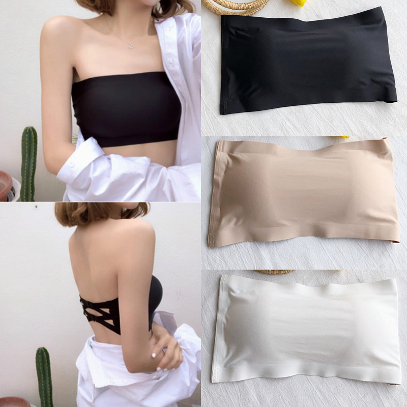 2pcs Summer Girls Strapless Elastic Bra Women's Stretchy Wrap Tube Top Bandeau Cropped Tanks Underwear Tops Solid Women Bandeau